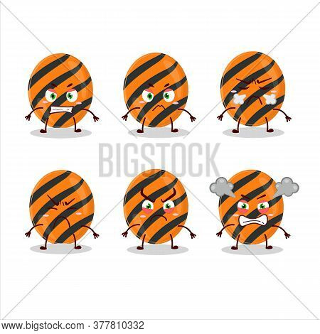 Halloween Stripes Candy Cartoon Character With Various Angry Expressions