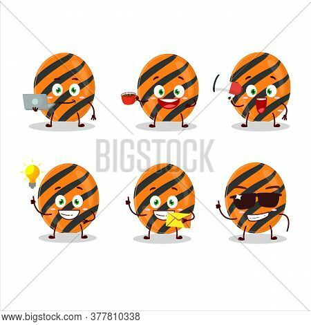 Halloween Stripes Candy Cartoon Character With Various Types Of Business Emoticons