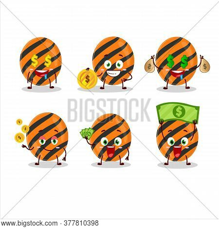 Halloween Stripes Candy Cartoon Character With Cute Emoticon Bring Money