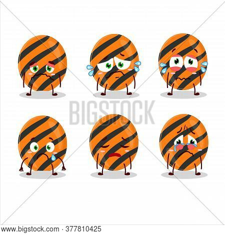 Halloween Stripes Candy Cartoon Character With Sad Expression