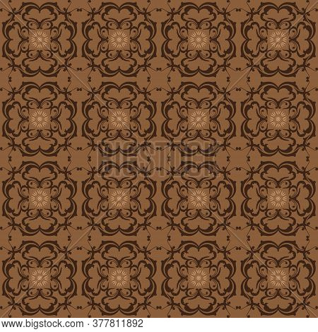 Beautiful Flower Motifs Art Work On Kawung Batik Design With Simple Brown Color Design.