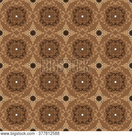 Beautiful Pattern For Javanese Traditional Clothes With Batik Texture And Simple Brown Color Design.