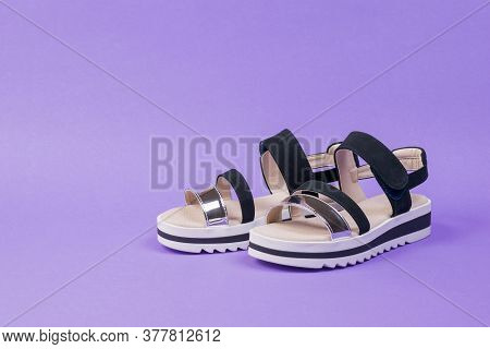 Stylish Womens Summer Sandals On A Rich Lilac Background. Summer Shoes For Women.