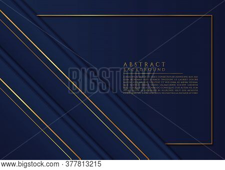 Overlap Layer Triangle Shape Design Abstract Style Gold Metallic Frame Space For Content. Vector Ill
