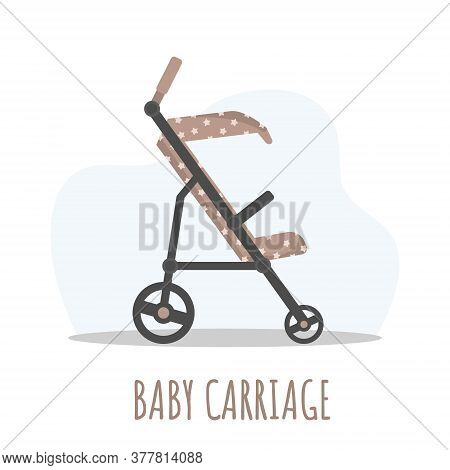 Baby Carriage Icon. Brawn Pram On White Background. Vector Illustrations In Flat Style.