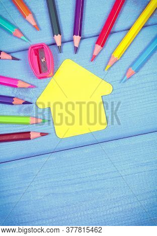 Vintage Photo, School And Office Accessories On Blue Boards, Paper In Shape Of School Building, Back