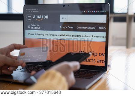 Chiang Mai,thailand - Jun 07, 2020 :  Amazon Logo And Credit Card Shopping Online. Amazon.com, Inc.