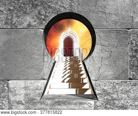 Key Hole In The Concrete Blocks Wall. 3d Rendering. Stairway To Heaven. Stairs In Sky. Concept Relig