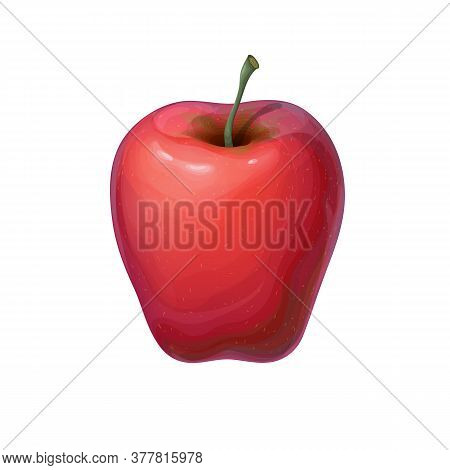 Red Ripe Juicy Apple Illustration Isolated On White Or Backdrop. Image Of Tasty Bright Red Fruit. De