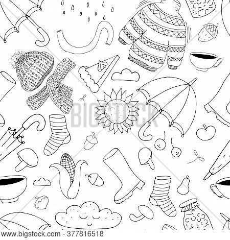 Autumn Doodles - Hat, Scarf, Umbrella, Rain, Rubber Boots, Sunflower On A White Background In Doodle