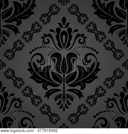 Orient Vector Classic Pattern. Seamless Abstract Background With Black Vintage Elements. Orient Back