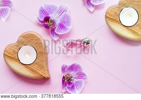 Beautiful Spa Composition.wellness And Spa Composition With Perfum, Burning Candles And Orchid Flowe