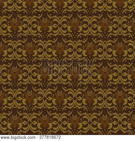 The Unique Flower Motifs On Indonesian Batik Design With Dark Brown Color Design.