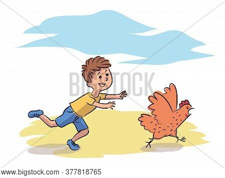 Misbehavior Boy Chase Hen On Farm Yard. Child Play Running After Domestic Bird. Funny Naughty Kid Ch