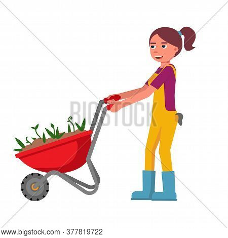 Young Woman Smiling Happily And Pushing Trolley Cart With Flower Sprout In Ground For Planting. Gard