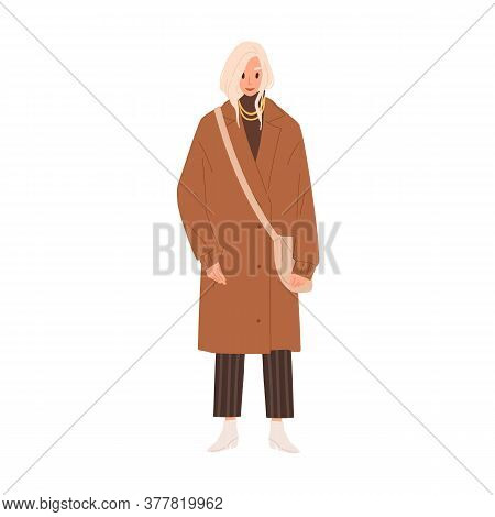 Fashionable Woman In Trendy Accessories And Winter Clothes Vector Flat Illustration. Stylish Young F
