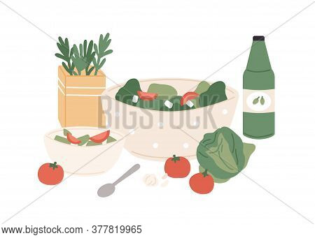 Composition Of Fresh Vegetable Salad And Juice Vector Flat Illustration. Chopped Tomato, Cabbage, Cu
