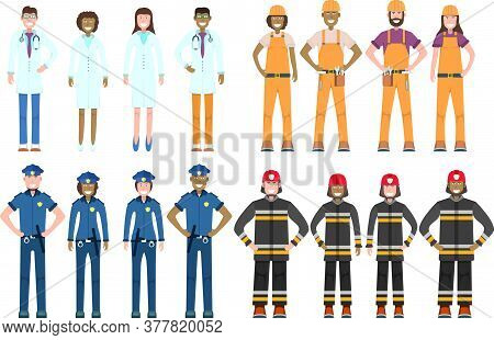 Character Doctor, Policeman, Worker, Firefighter Standing Isolated On White, Flat Vector Illustratio