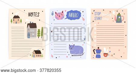 Set Of Childish, Cute Agenda, Appointment Notebook Page With Place For Text. Empty To Do List, Plann
