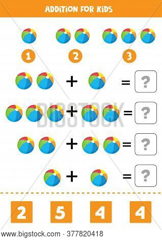 Addition With Colorful Toy Balls. Math Game.