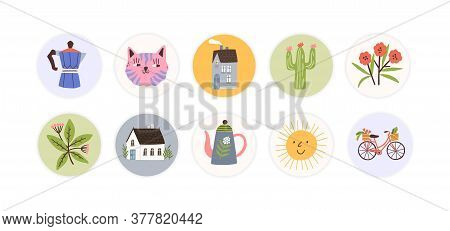 Collection Of Round Childish Tag, Sticker. Design, Decorated Scrapbook Elements. Muzzles, House, Flo