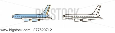 Passenger Or Cargo Airliner, Aircraft Symbol. Plane Or Airplane Flying In Air. Commercial Airlines.