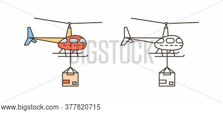 Helicopter Icon With Package Box. Delivery Shipment Symbol, Aircraft Service. Cargo Parcel Transport