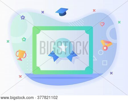 Certificate Icon Image Star Badge Concept Certified Authorized Graduation With Flat Style