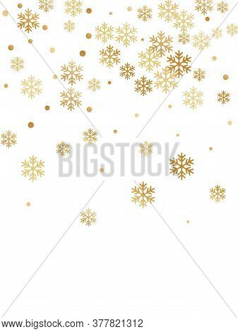 Crystal Snowflake And Circle Elements Vector Graphics. Chaotic Winter Snow Confetti Scatter Banner B