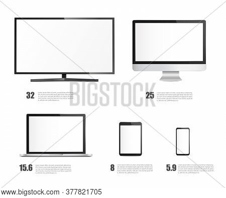 Set Of Devices Screens And Monitors, Realistic Vector Illustration Isolated.