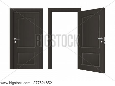Open And Closed Front Door Of Black Wood - Realistic House Doorway