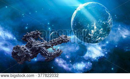 Realistic 3d Illustration. Big Futuristic Alien Spaceship Traveling In The Universe. Military Spacec
