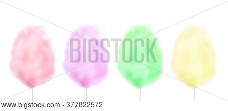 Realistic Colorful Cotton Candy Floss Set In Different Pastel Colors