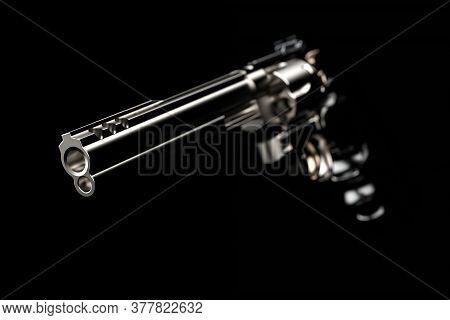 3d Illustration. Barrel Of A Gun. Revolver Colt Python Chrome Isolated On Black Background. Conceptu