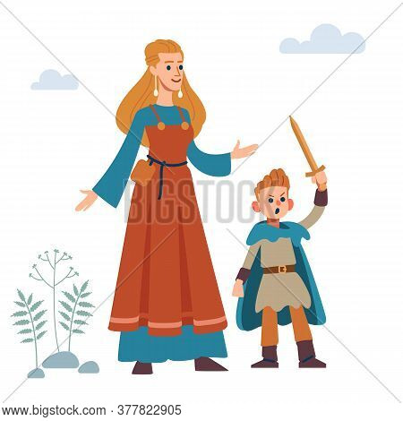 Woman Viking. Historic Medieval Viking Family. Mother And Son. Vector Isolated On White Background.
