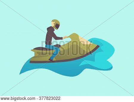 Man Character On Water Bike Or Jetski Vehicle Flat Vector Illustration Isolated.