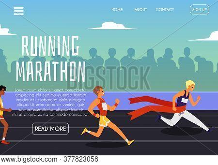 Running Marathon Banner With Sportsmen At Stadium, Flat Vector Illustration.