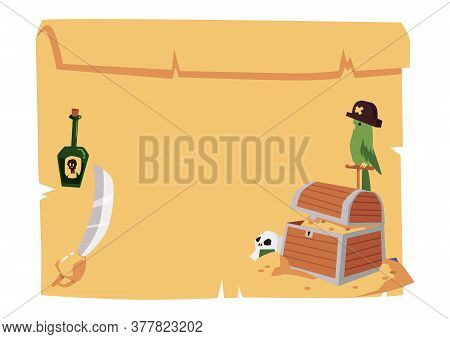Blank Pirate Map Template With Treasure Chest, Parrot, Rum Bottle And Sword