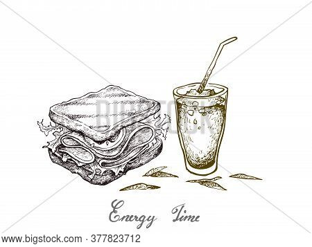 Energy Time, Illustration Hand Drawn Sketch Of Delicious Homemade Freshly Healthy Whole Grain Bread