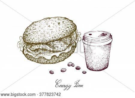 Illustration Hand Drawn Sketch Of Takeaway Coffee With Grilled Grouper Sandwich Or Layer Hamburger B