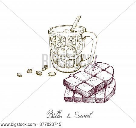 Bitter & Sweet, Illustration Hand Drawn Sketch Of Delicious Homemade Freshly Baked Bread Or Toast Wi