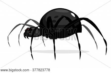 One Big Black Cartoon Spider With Red Evil Eyes, Scary Spider In Side View Isolated