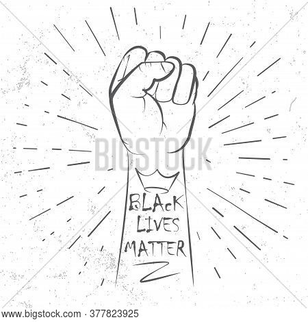 Hand Symbol For Anti Racism Protest In Usa To Stop Violence To Black People. Fight For Human Right O