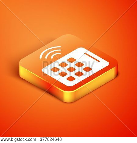 Isometric Wireless Tablet Icon Isolated On Orange Background. Internet Of Things Concept With Wirele