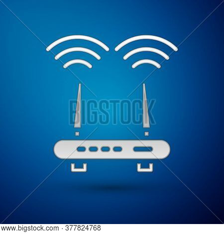 Silver Router And Wi-fi Signal Icon Isolated On Blue Background. Wireless Ethernet Modem Router. Com