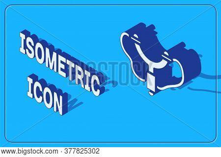 Isometric Slingshot Icon Isolated On Blue Background. Vector