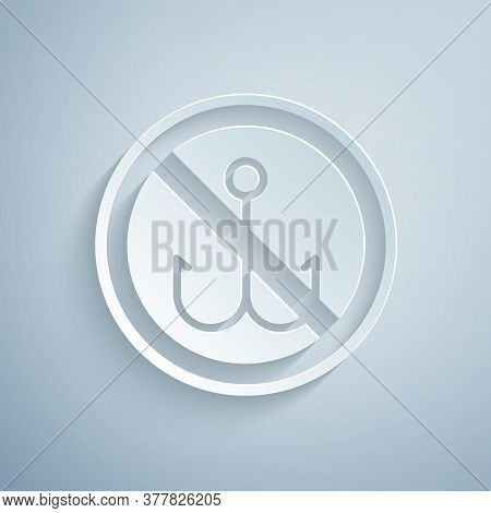Paper Cut No Fishing Icon Isolated On Grey Background. Prohibition Sign. Paper Art Style. Vector