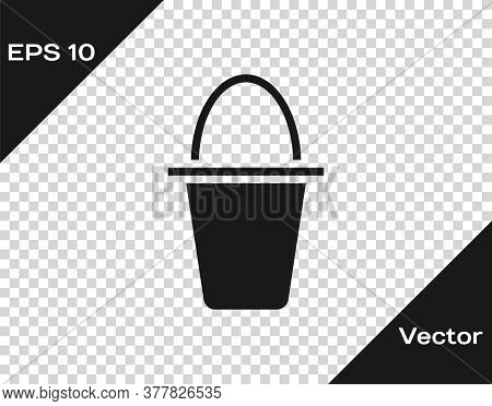 Black Fishing Bucket Icon Isolated On Transparent Background. Fish In A Bucket. Vector