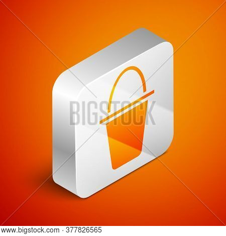 Isometric Fishing Bucket Icon Isolated On Orange Background. Fish In A Bucket. Silver Square Button.