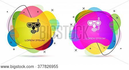 Color Diving Mask And Snorkel Icon Isolated On White Background. Extreme Sport. Diving Underwater Eq